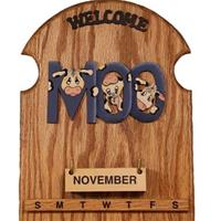 Moo in Dark Blue Perpetual Calendar