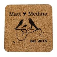 Personalized Birds of a Feather Wedding or Anniversary Coasters