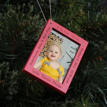 Baby Stats Frame Ornament - RED