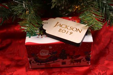 Gift Tag Ornament Under Tree