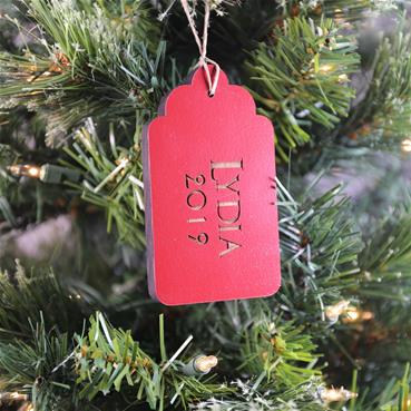 Red Gift Tag Ornament on Tree