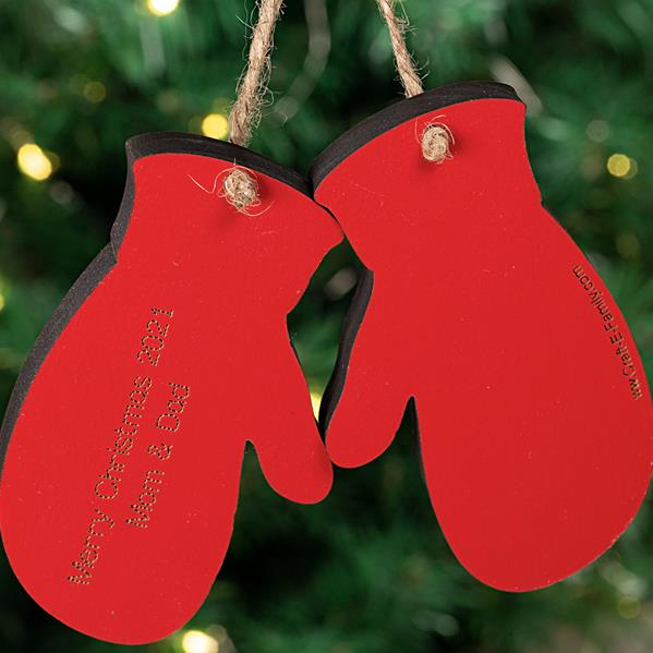Mitten Ornament Red Back View