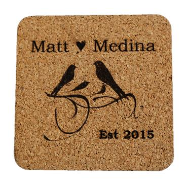 Birds of a Feather Wedding or Anniversary Coasters