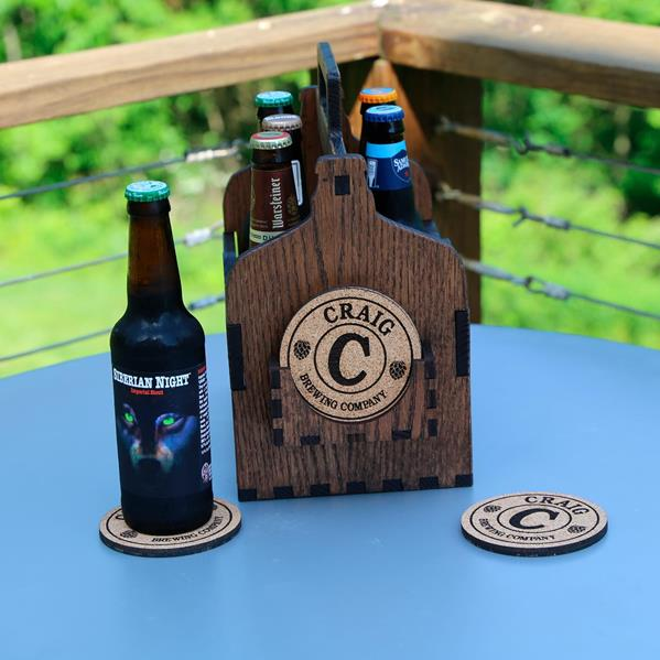 Beer Caddy with coaster view